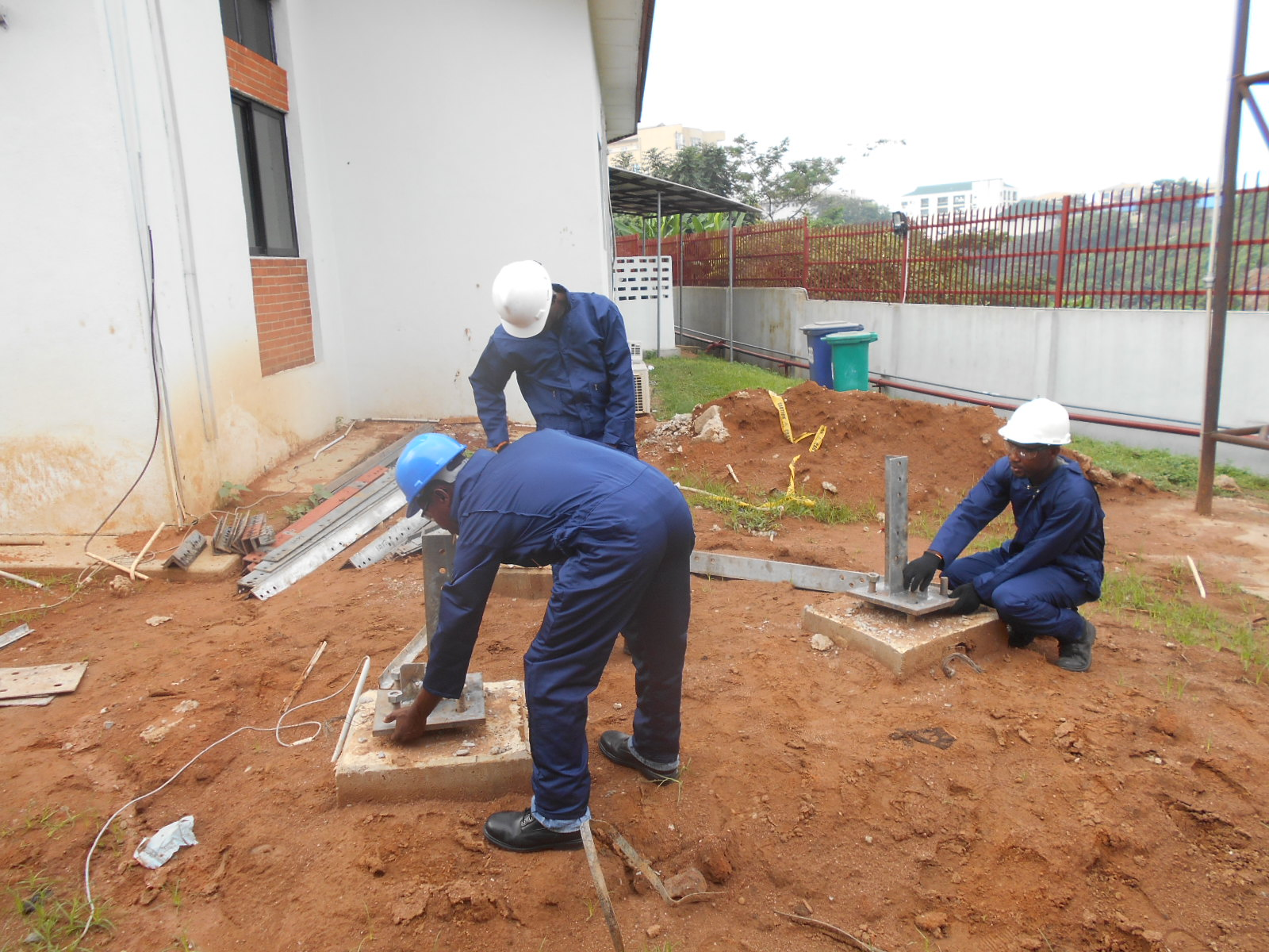 MOUNTING OF TOWER LEGS IN PREPERATION FOR ERECTION OF 40 METRES SELF-STANDING TOWER AT GASLINK PLC IKEJA, LAGOS