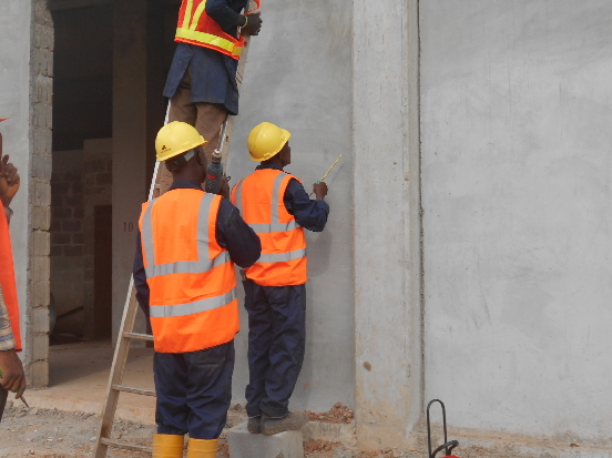 MARKING OF THE WALL IN PREPERATION FOR THE RUNING OF COPPER TAPE AT JABI SHOPPING MALL, ABUJA