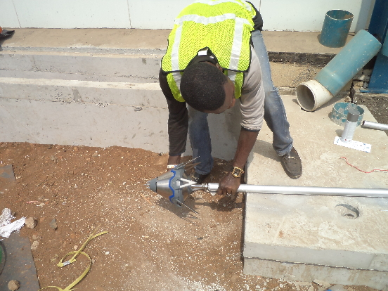MOUNTING OF PREVECTRON 3 MODEL ON AN ELEVATION POLE IN PREPERATION FOR INSTALLATION AT CORMART @ OSHODI LAGOS